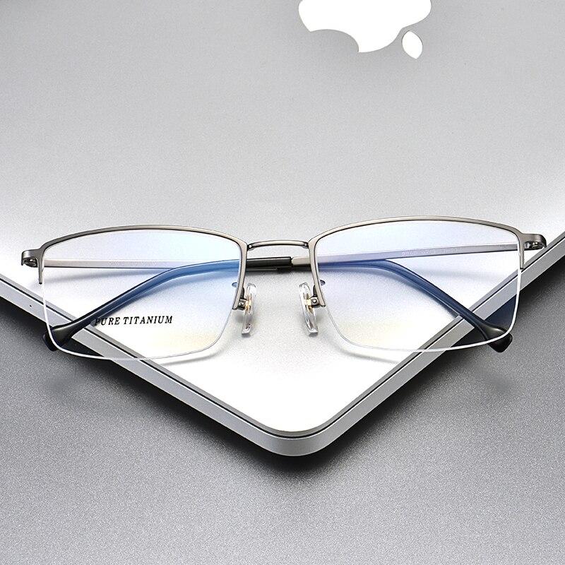 Montura de gafas de titanio puro, gafas graduadas para hombre, montura media montura, gafas de gran tamaño, montura 965, gafas ópticas 57-20-145