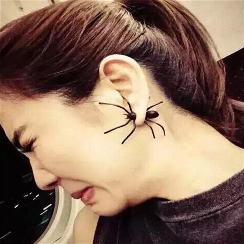 DoreenBeads 1 PC Punk negro pendientes de araña de Halloween 3D pendientes de animales Vintage europeo de joyería de moda brazalete de oído pendientes