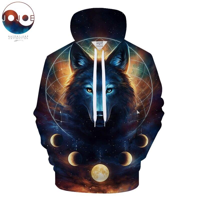 Sudadera cósmica de JojoesArt Sudadera con capucha de dibujo de lobo 3D con capucha para hombre, ropa deportiva Unisex, informal, montado en la calle, remolcador ZOOTOP BEAR