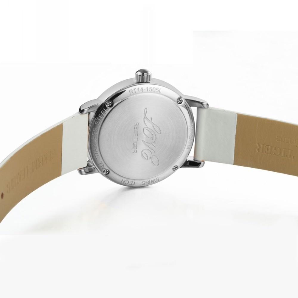 Reef Tiger/RT Fashion Elegant Watches for Women Ronda 763 Quartz Watch with Diamonds Bezel MOP Dial Calfskin Leather RGA1563 enlarge