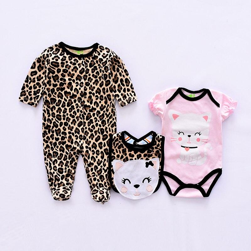 2019 nueva ropa de bebé conjunto de algodón lindo bebé animal Niñas Ropa traje de recién nacido 3 uds peleles de manga larga + monos + babero