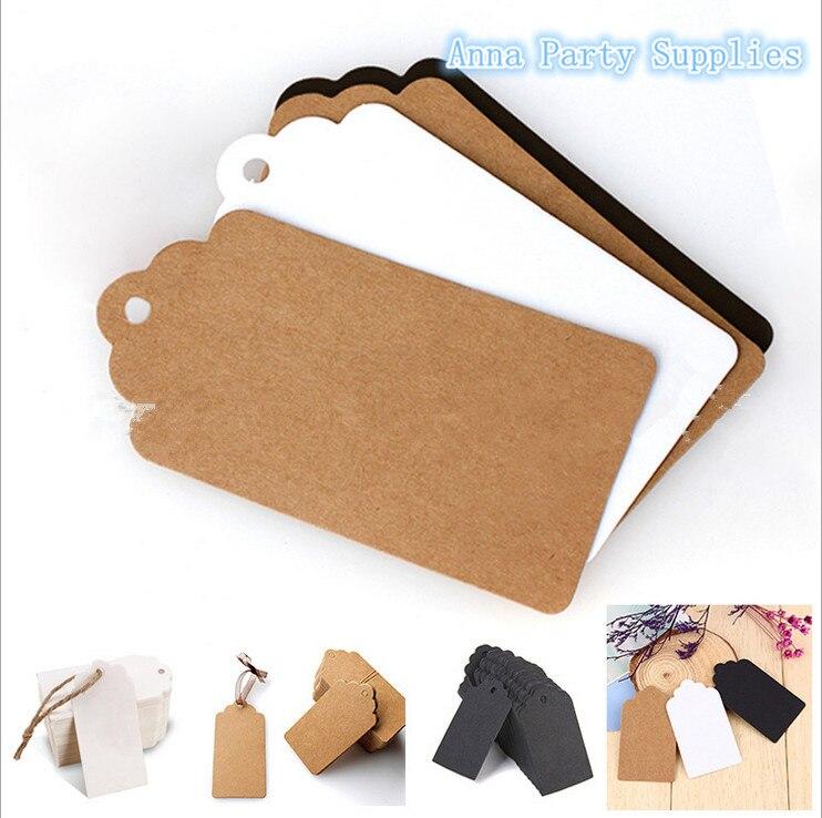 50 Uds. Etiquetas rectangulares de papel Kraft para regalo etiquetas de boda para equipaje en blanco