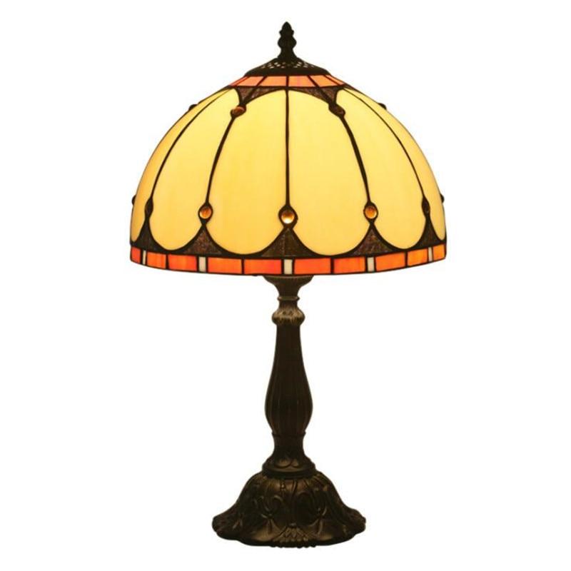 Lámpara de mesa Tiffany de cristal Vintage de estilo europeo y americano de 12 pulgadas para vestíbulo, dormitorio, Bar, apartamento, luz de lectura de cristal H 49cm 1067