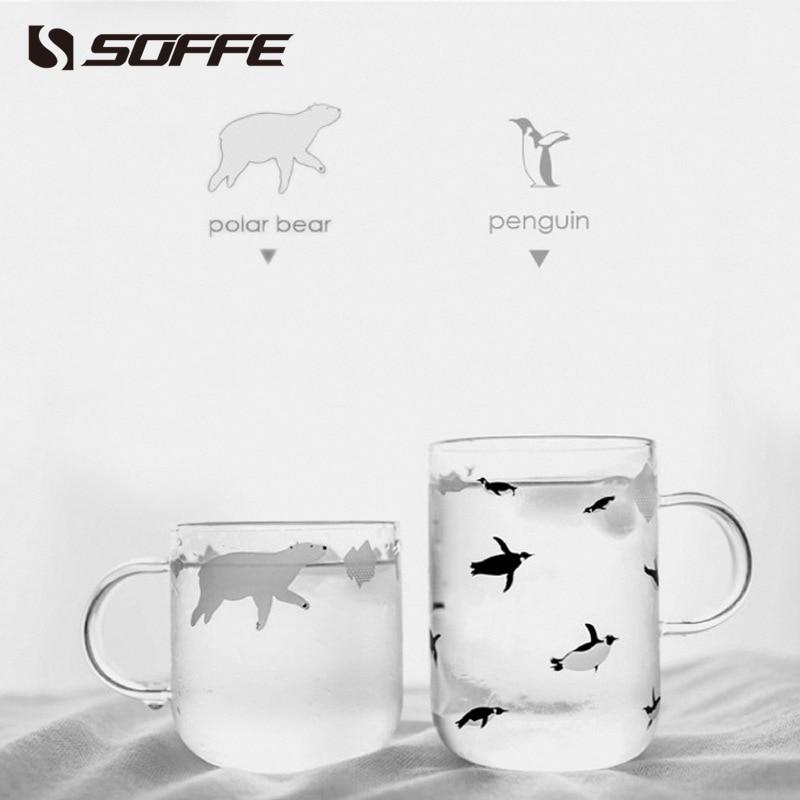 Soffe Polar Bear Penguin Single Wall Glass Mug Clear Borosilicate Glass Coffee Mug Travel Coffee Milk Cup With Handle Tumbler