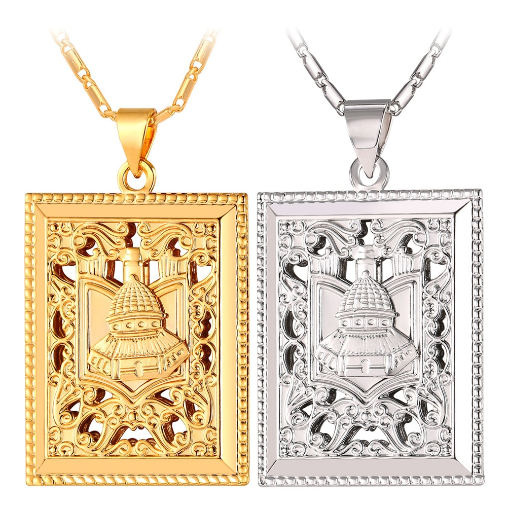 Ouro/Prata Cor Palácio Árabe Colar Pingente Para Homens/Mulheres Por Atacado Presente Da Jóia Árabe P385