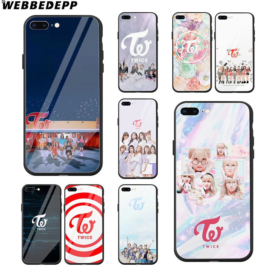 WEBBEDEPP Duas Vezes K Pop Faixas de Vidro Temperado Caso de Telefone para o iPhone Da Apple Xr Xs Max X ou 10 8 7 6 6S Plus 5 5S SE 7Plus