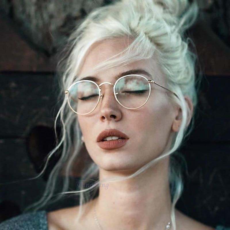 Круглые очки с прозрачными линзами для близоруких