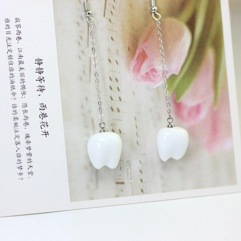 Pop Natural Stone Ceramic Teeth Women Earrings Creative Personality Handmade Ceramic Fancy Long Chain Earrings Women Jewelry