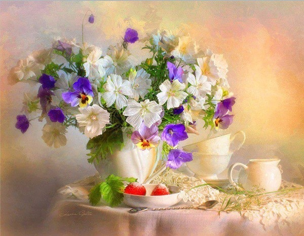 14/16/18/28 Lovely Counted Cross Stitch Kit Elegance Elegant Abbi Lady summer park White flowers in vase