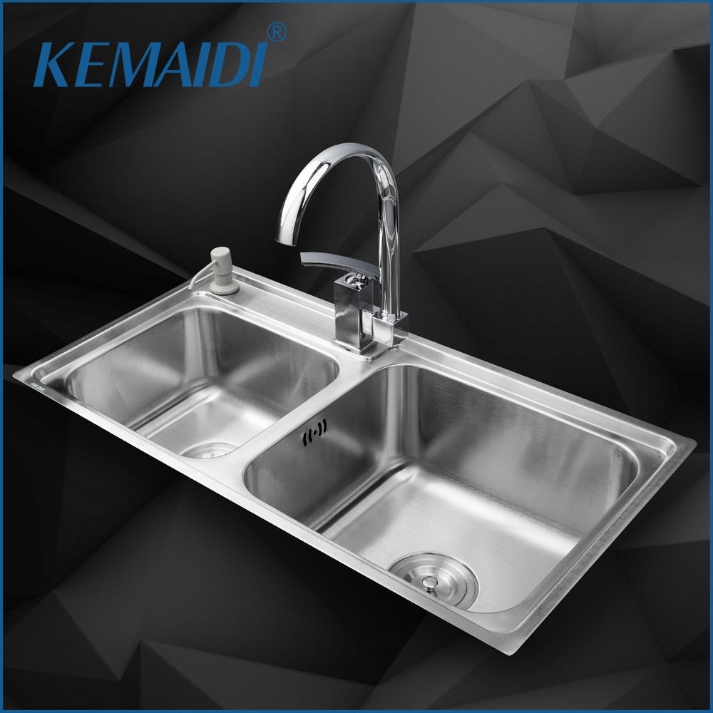 KEMAIDI-حوض مطبخ من الفولاذ المقاوم للصدأ ، خلاط حمام مزدوج ، دوار ، موزع صابون سائل