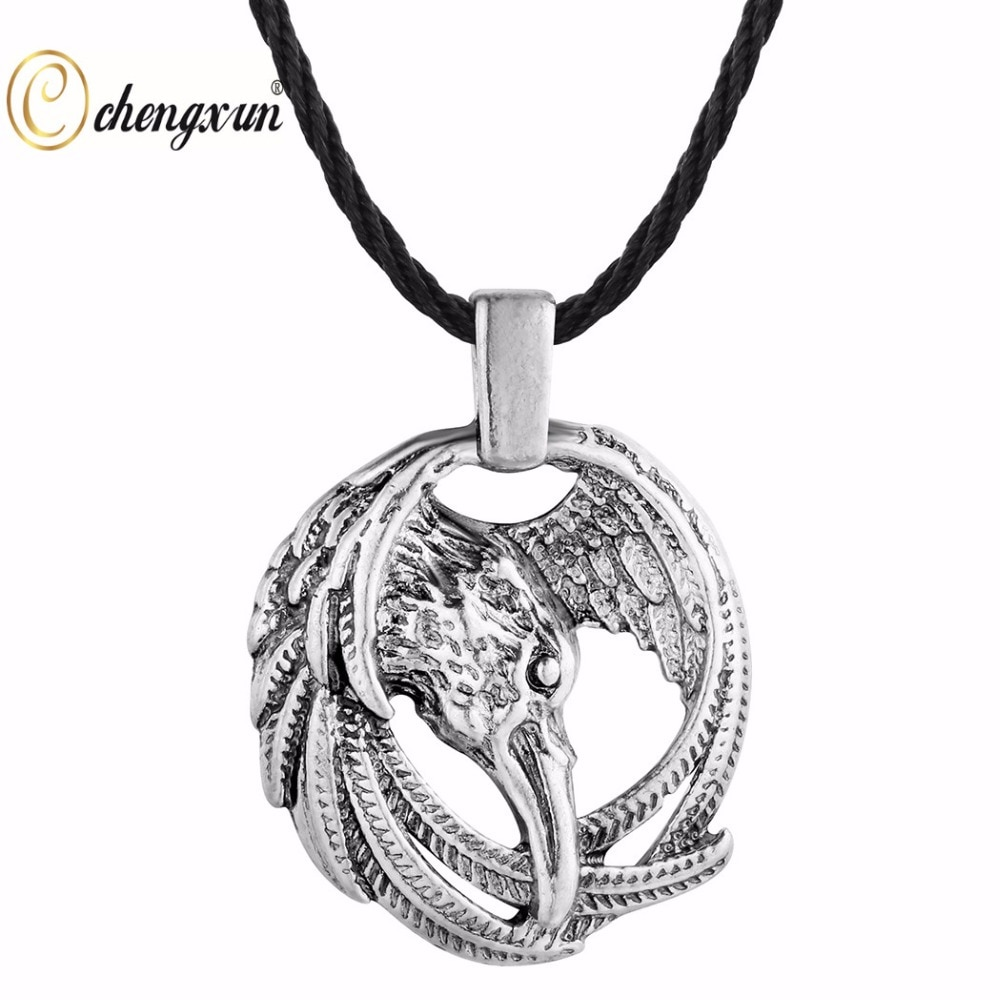 Chengxun viking colar pingente águia no círculo nórdico runa charme collier gargantilha étnica colar animal celta talismã