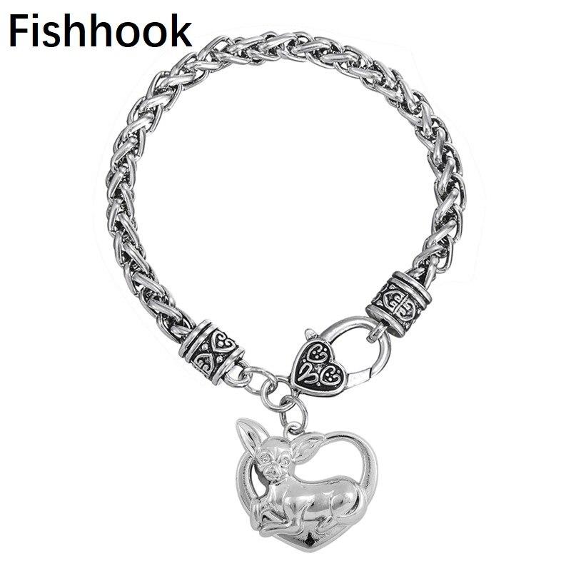 Fishhook metal en forma de corazón chapado en rodio Chihuahua memorial amantes de los perros pulsera