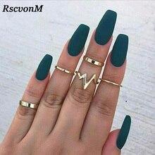 RscvonM 5 pièces/ensemble Punk Rock or pile plaine bande Midi mi doigt Knuckle anneaux ensemble pour les femmes mi doigt anneau mince bague mode