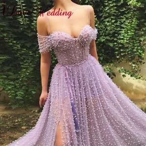 Вечернее платье с открытыми плечами, Жемчужное кружевное платье, индивидуальный пошив, ТРАПЕЦИЕВИДНОЕ формальное платье, вечернее платье