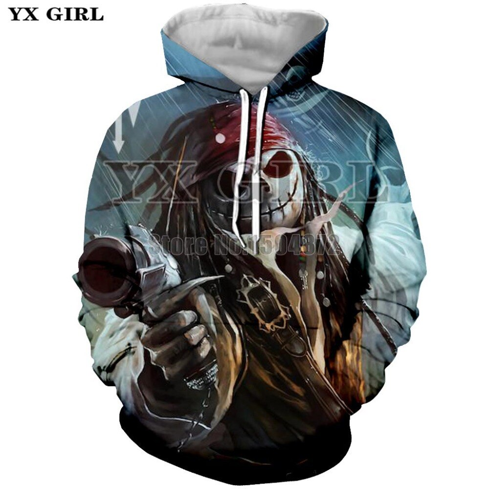 YX Girl 3d Captain Pirate Women Men Halloween Hoodie 3D Jack Skellington Hoodies Sweatshirt Mens Womens Fashion Skull Tracksuit