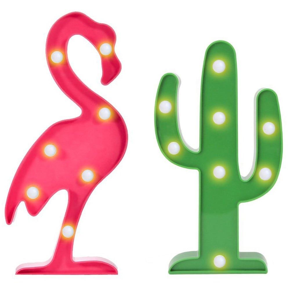 Lámpara de mesa de Cactus flamencos luces de signo de marquesina luz de noche LED Tropical decoración de fiesta flamenco Cactus plástico marquesina señal de luz