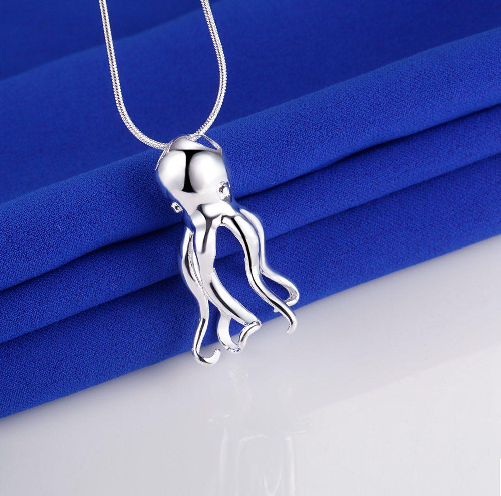 Octopus animal prata banhado colar nova venda prata colares & pingentes/lcmlkavy bzmfywxv