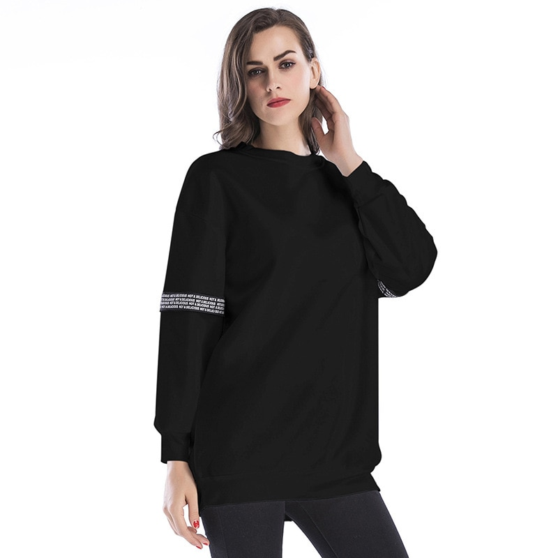 2019 Fashion New Casual Black Sweatshirts Women Head Round Neck Pullovers Personalized Print Female Loose Spring Top