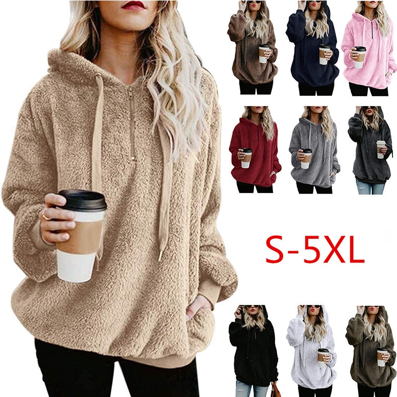 Wipalo mujeres sudaderas con capucha de lana 2019 de manga larga Sudadera con capucha otoño invierno cálido cremallera bolsillo piel abrigo de talla grande 5XL