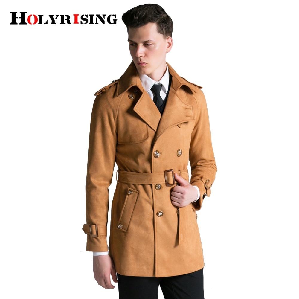 Holyrising الرجال قصيرة خندق سترة الرجال فو الجلد المدبوغ سترة صالح سليم كلاسيك مزدوجة الصدر الرجال سترة 3 اللون S-6XL #18083-5