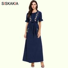 Siskakia jeunes dames été longue robe broderie florale col rond manches courtes décontracté Maxi robes doux avant poches conception