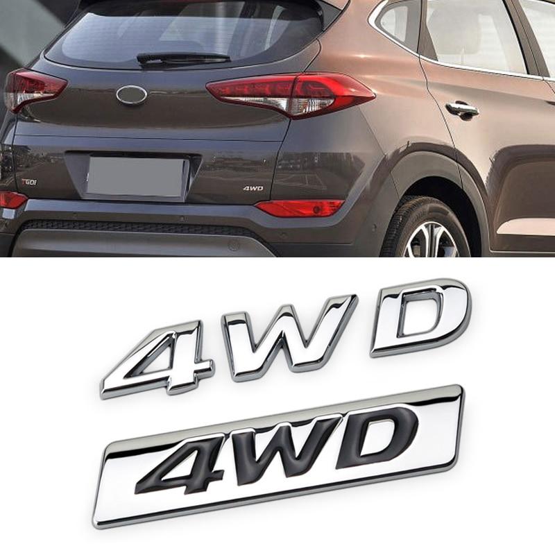 For Hyundai 4WD ix25 ix35 ix45 i30 i20 Accent Santa Fe Tucson Elantra Solaris Creta Tail Side Decal Sticker Metal Car Decoration