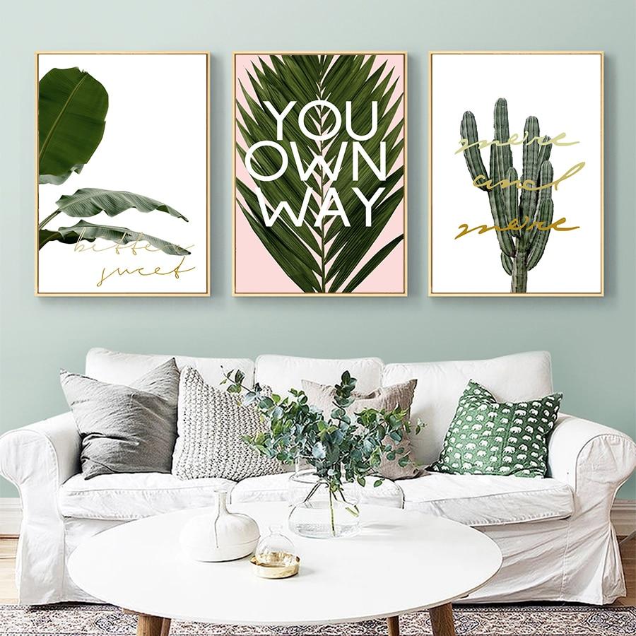 Carteles de impresión de pared de hoja de plátano citas inspiradoras lienzo cuadros de arte pop nórdico sala de estar minimalista fotos decorativas para pared
