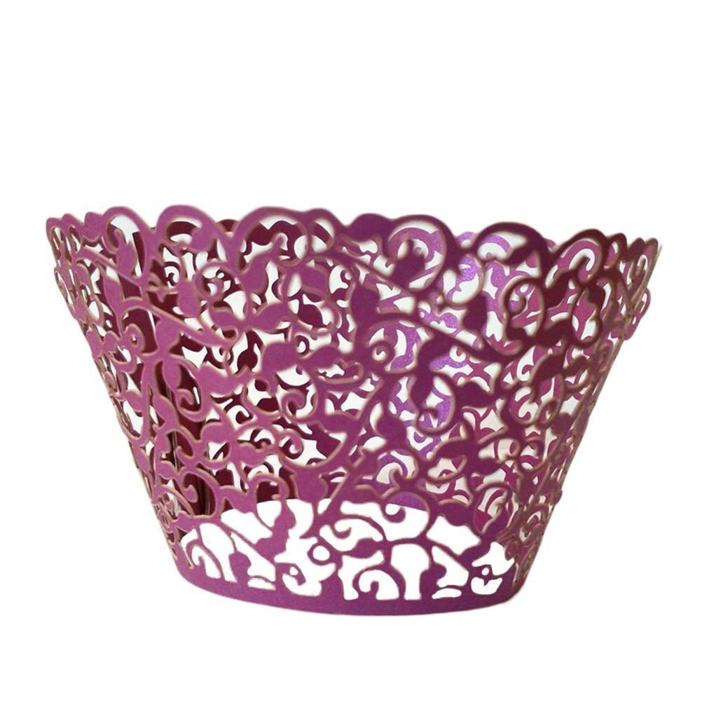 50 Uds vid filigrana de envolturas para magdalenas de boda pastel fiesta ala ancha (púrpura oscuro)