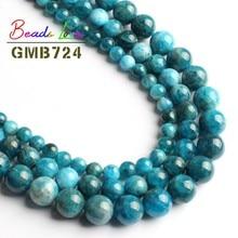 Naturalne A + niebieski apatyt okrągłe luźne gładkie koraliki do tworzenia biżuterii Pick rozmiar 6/8/10 MM 15 cali bransoletka Zrób To Sam naszyjnik biżuteria