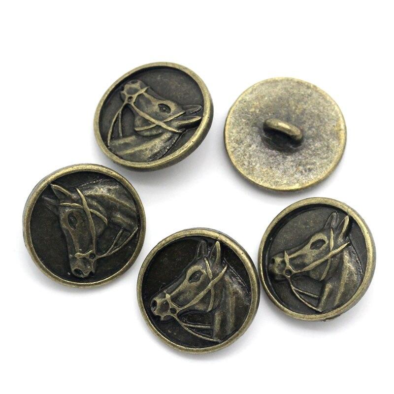 Urijk, 20 Uds., botones de Metal para la costura de ropa, cabeza de caballo tallada, botones redondos, Scrapbooking, costura de bricolaje hecha a mano, accesorios