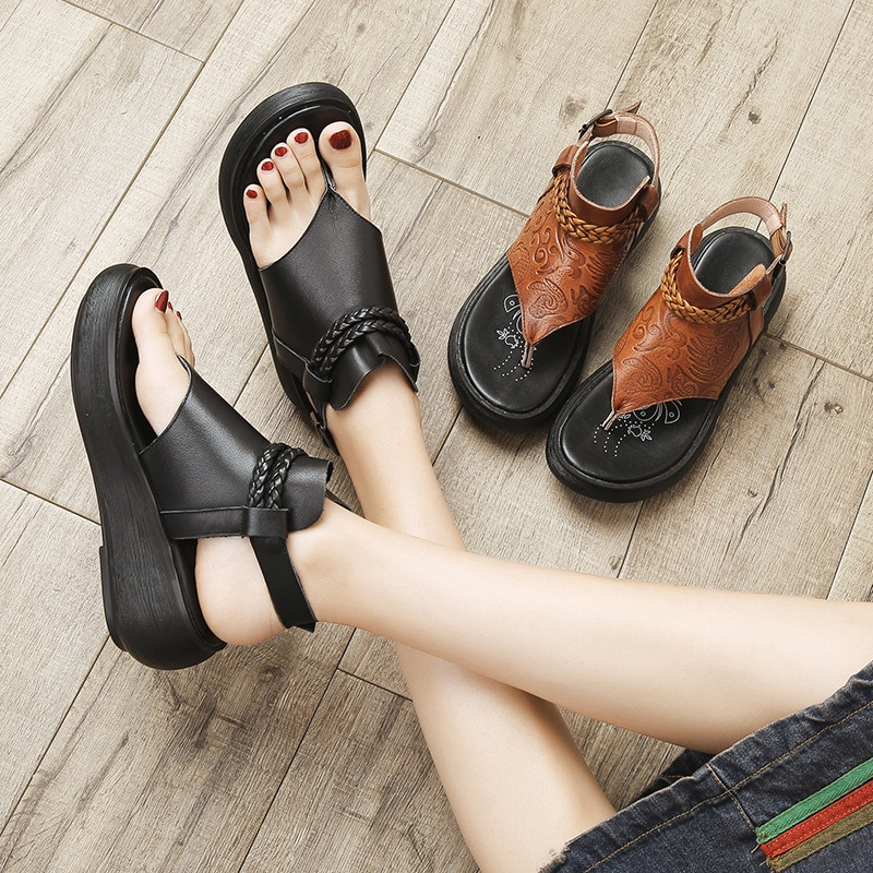 2019 Summer Slippers Genuine Leather Sandals for Women Retro Roman Style Women Thick Bottom Slope Sandal Beach Shoes