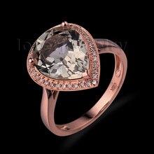 Sólido 14kt ouro diamante natural ametista anel, forma de pêra cristal anel para venda feminino sr0041a