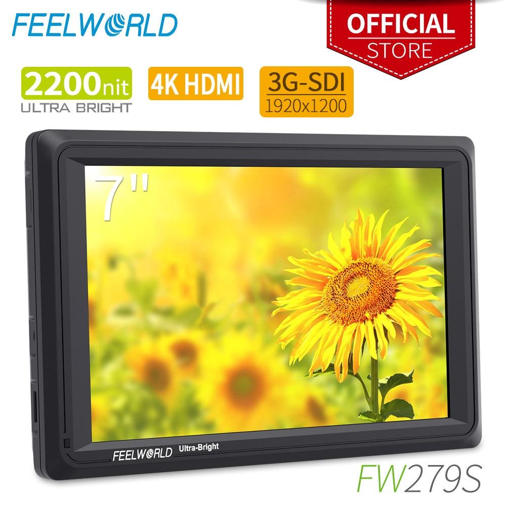 Feel world FW279S 7 بوصة على كاميرا DSLR جهاز المراقبة الميدانية كامل HD مشرق 2200nit 1920x1200 IPS مع 4K HDMI الجيل الثالث 3G SDI المدخلات الإخراج