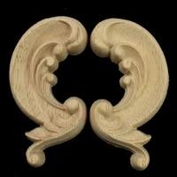 6cm decorative wood appliques unpainted wood oak carved wave flower onlay applique for home furniture door decor crafts