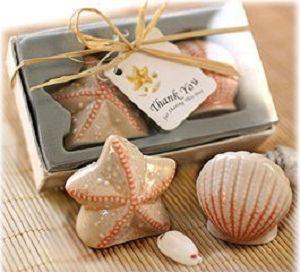 15 set/lote boda favor concha de mar y estrella de mar sal y pimienta agitadores