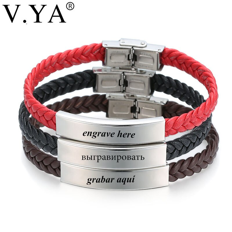 V.YA Laser Engrave Name ID Personalized Name Bracelets For Men Women Stainless Steel Soft Leather Braided Rope Bracelet Custom personalized stainless steel braided rope charm bracelets custom name leather bracelet with 2 5 names beads for family men gifts
