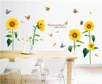 Autocollant mural papillon tournesol magnifique  affiche murale de fond de television pour enfants  papier peint doux decoration de la maison