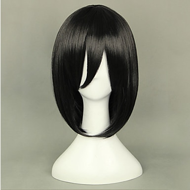 Pelucas Cosplay Attack on Titan Mikasa Ackermann negro corto Anime Cosplay pelucas 40 CM fibra resistente al calor Mujer