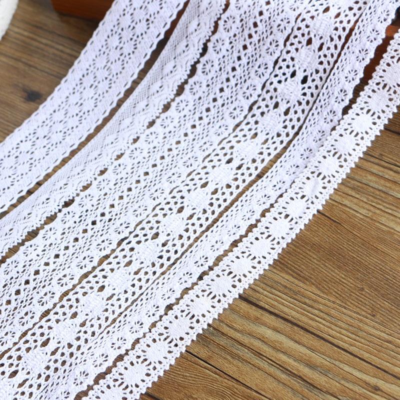 2-6CM, 5 yardas, encaje blanco de alta calidad, encaje de algodón, costura, accesorios de decoración para el hogar, material DIY