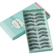 10 boxen/100 Paar Lange Natürliche Weiche Importierte Seide Protein Faser Falsche Wimpern Dicken Quer Wimpern Verlängerung Make-Up