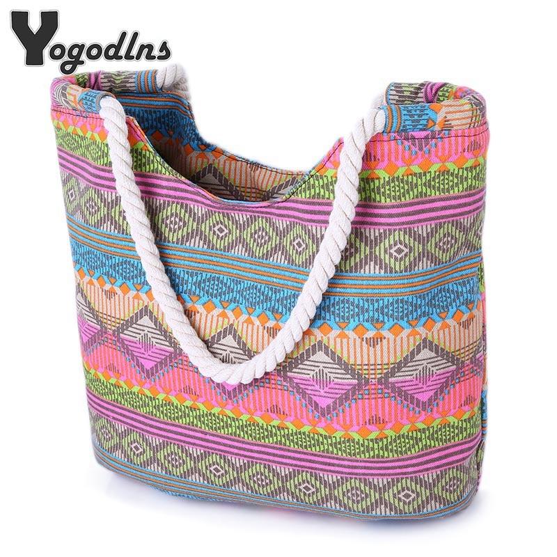 Bolso informal de playa de verano para mujer, bolsa de almuerzo, gran oferta, bolso de lona de alta calidad a rayas, bolso de hombro