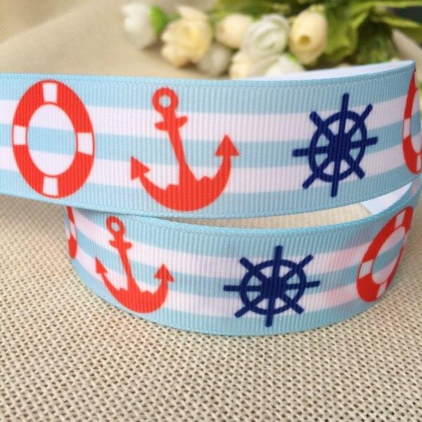 """1 """"25MM rayas azul claro velero azul marino estampado de ancla cinta acanalada DIY horquilla lazo material cinta"""