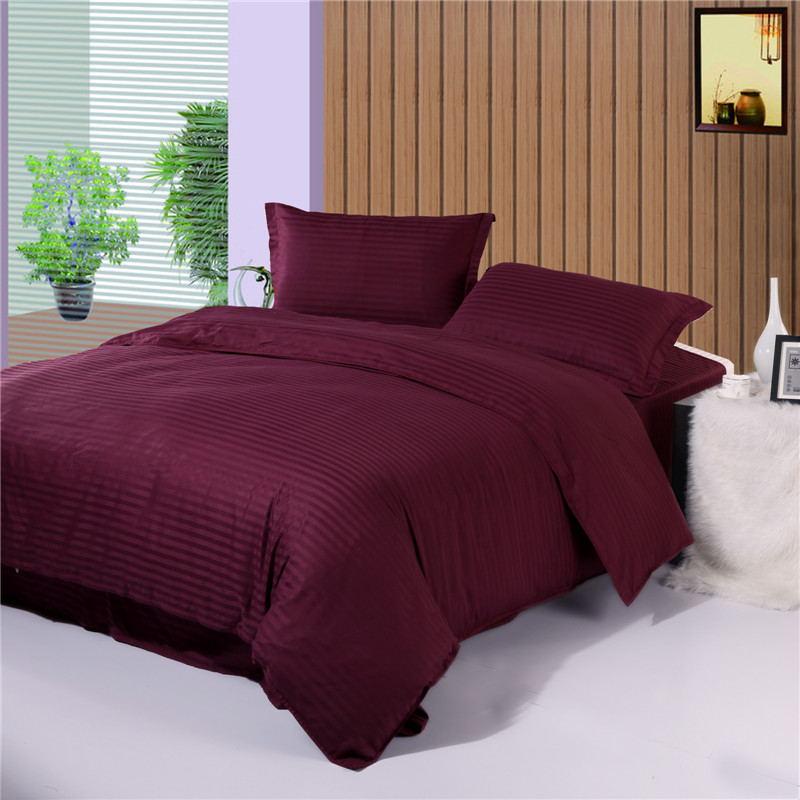 100% algodón premium satén a rayas reactivo teñido tela edredón sábanas funda de almohada kit king queen múltiples tamaños