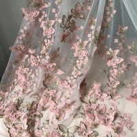 1yard exquisite 3d butterfly embroidery lace fabric pink gold thread bridal gown wedding fabrics tulle cloth diy dress material