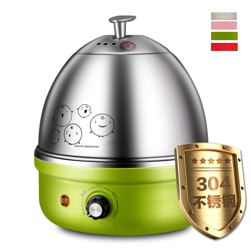 Caldera de huevos eléctrica de acero inoxidable DMWD 220V 304, olla de desayuno multifuncional para huevos, calentador de alimentos, potencia automática, apagado en 4 colores