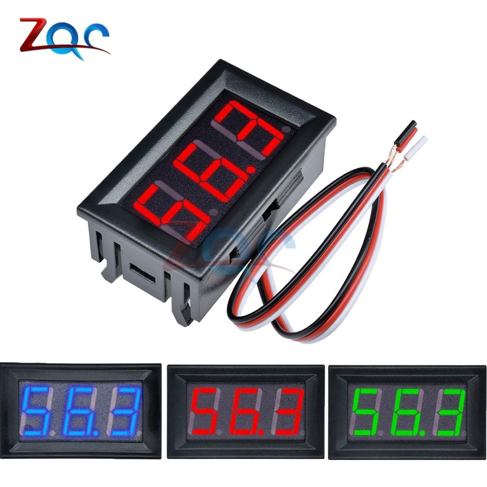 Mini LED Digital DC 0-100V voltímetro medidor de voltaje Fahrzeuge Panel medidor rojo/azul/Verde 12V 24V 48V para coche etc.