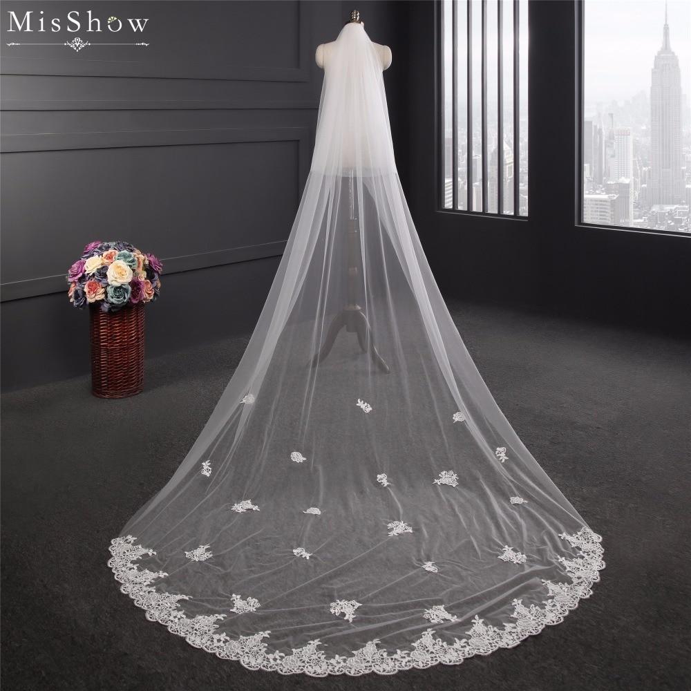 En Stock marfil blanco económico 3 metros dos capas de largo velo de novia con peine borde de encaje apliques velo de novia accesorios de boda