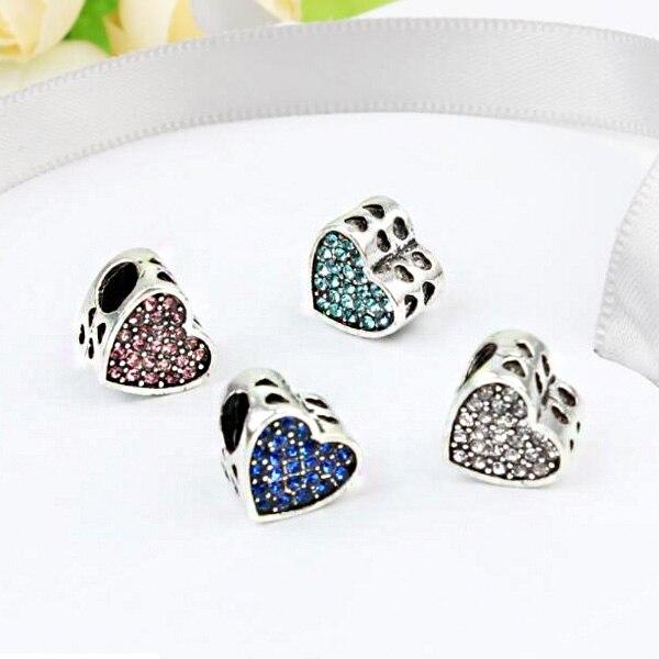 Venda quente maxi pequeno cristal amor corações encantos contas caber pandora pulseiras colares para mulheres estilo fresco diy lembrança presentes