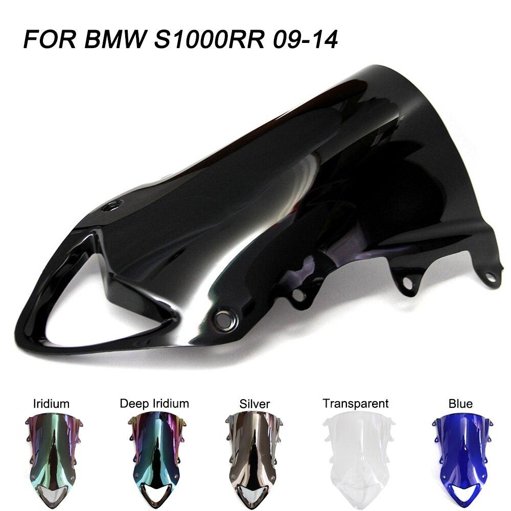 Negro de la motocicleta moto parabrisas para BMW S1000RR S1000 RR 1000; 2009-2014 de doble burbuja parabrisas viento deflectores de flujo de aire