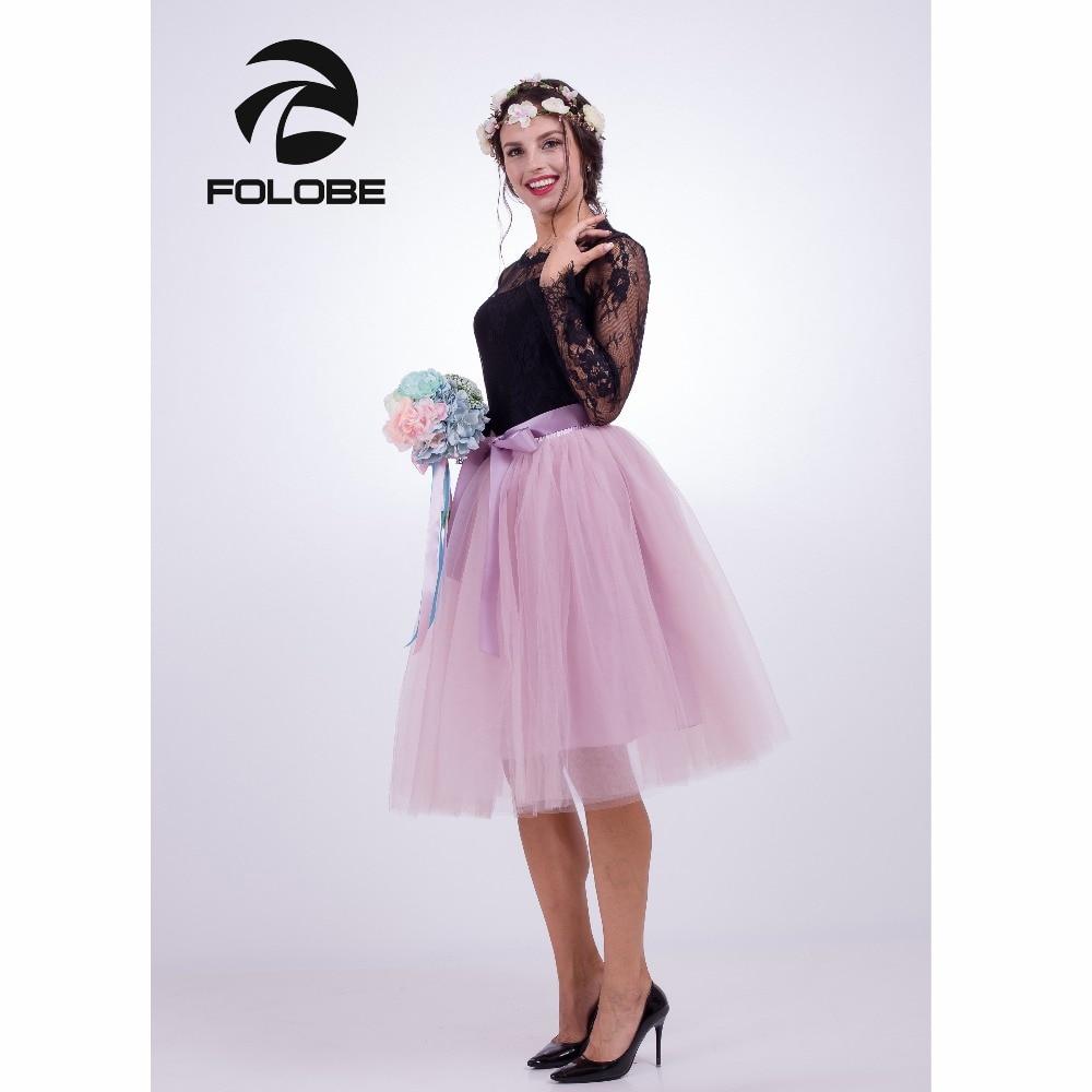 FOLOBE Light Pink 7 Layers Midi Tulle Skirt  Tutu Skirts Womens Petticoat Elastic Belt faldas saia jupe